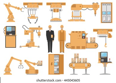 Automated assembly decorative icons set with engineer operator computer management machinery manufacturing process isolated vector illustration