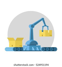 Automated assembly line with conveyor belt, robotic arm, cardboard box. computer-aided manufacturing. 3d Flat vector illustration