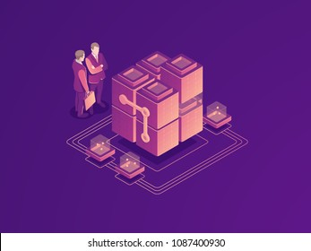 Automated business process concept, server room rack, data center, database icon, businessman with suitcase, digital technology bigdata processing isometric vector