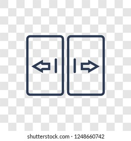 automated door icon. Trendy linear automated door logo concept on transparent background from Smarthome collection