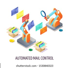 Automated email control, vector isometric illustration. Receiving, sorting and sending mail. Automated mail rules, email management concept for web banner, website page etc.