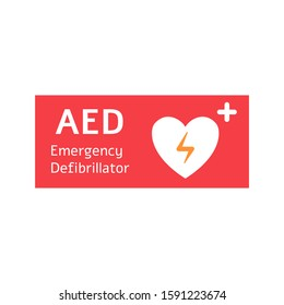 Automated external defibrillator red banner with white heart. Aed flat vector illustration with cardiac concept.