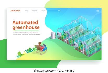 Automated Greenhouse. Future Farming Technology. Robotic Glasshouse Farming. Tablet Monitoring By Farmer Person. Modern Vegitables Growing Irrigation Automation. Organic Plant Control.
