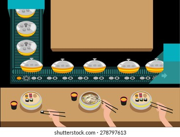 Automated Japanese Restaurant without waiters. Food circulates via a conveyor belt to reach customers and to deliver special orders. Editable EPS10 illustration.