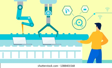 Automated Laptops Production Flat Illustration. Male Engineer Controlling Robotic Arms Cartoon Character. Computerized Factory, Plant Equipment, Tools. Smart Industry Manufacturing Process