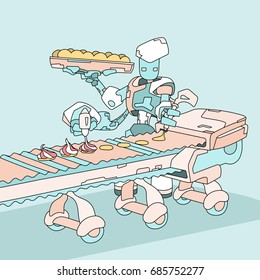 Automated meringue cookies production line with a futuristic robot. Artificial intelligence in a food industry. Hand drawn flat style vector illustration.