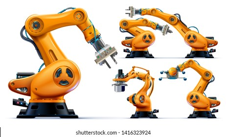 Automated orange robotic arms or industry 3d manipulator positioner Isolated on white background. Hydraulic mechanical robot on factory. Machine crane. Machinery hand. Realistic vector custom set.