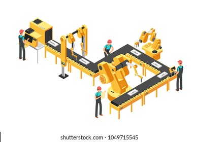 Automated production line, factory conveyor with workers and robotic arms isometric industrial vector concept. Illusstration of industrial control conveyor work