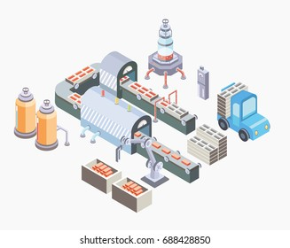 Automated production line. Factory floor with conveyor and various machines. Vector illustration in isometric projection, isolated on white background.
