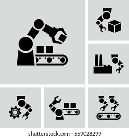 Automated Production line vector icons