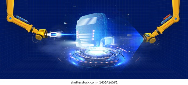 Automated robotic arm on the  production line is welding truck body on automobile factory. The robots draw the outline of the concept car with a laser and hologram. Futuristic truck in style HUD, GUI