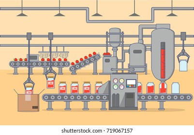 The automated shop on production of strawberry jam. The conveyor belt of processing of berries to cooking of jam of his pouring on glass jars and their packing.Automated food factory machine.