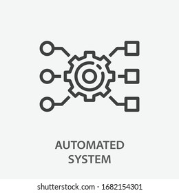 Automated system line icon. Vector illustration on white background.