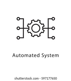 Automated System Vector Line Icon