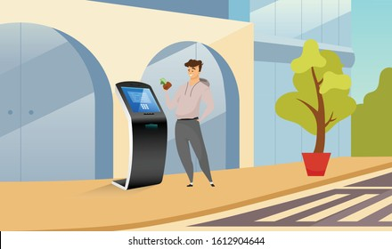 Automated teller machine flat color vector illustration. Smiling man near cash kiosk cartoon character with street on background. Financial transaction software. Self service electronic equipment