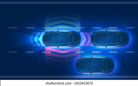 Automatic braking system avoid car crash from car accident. Concept for driver assistance systems. Autonomous car. Driverless car. Self driving vehicle. Future concepts smart auto. HUD hologram Vector
