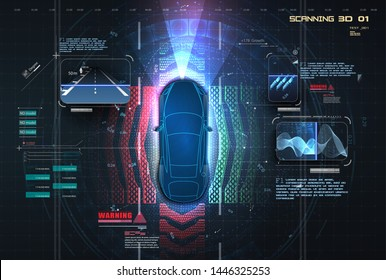 Automatic braking system avoid car crash from car accident. Concept for driver assistance systems. Autonomous car. Driverless car. Self driving vehicle. Future concepts smart auto. HUD, GUI, hologram