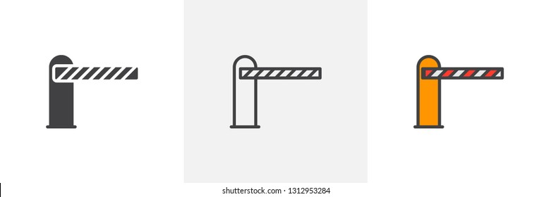 Automatic car barrier icon. Line, glyph and filled outline colorful version, Parking barrier outline and filled vector sign. Symbol, logo illustration. Different style icons set. Pixel perfect vector