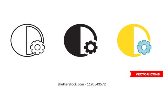Automatic contrast icon of 3 types: color, black and white, outline. Isolated vector sign symbol.