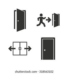 Automatic door icon. Emergency exit with human figure and arrow symbols. Fire exit signs. Flat icons on white. Vector