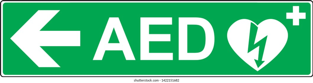 Automatic External Defibrillator emergency sign (DAE, AED)
