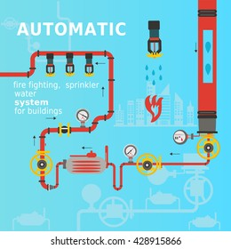 Automatic fire fighting, sprinkler water system for buildings. Vector illustration.