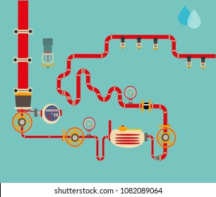 Automatic fire fighting  system for buildings and security. Sprinkler irrigation. Vector illustration. Modern engineering solutions fire protection. Innovations concept in industry, plumbing.