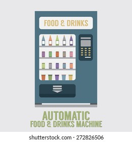 Automatic Food And Drinks Machine Vector Illustration