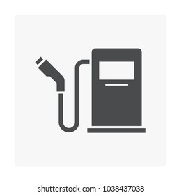 Automatic fueling nozzle, dispenser and hose pipe vector icon. Equipment tool for service, pump and refill natural gas in filling station into fuel tank of auto, car or truck i.e. lpg, cng and ngv.