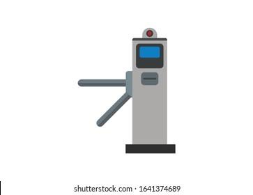 Automatic gate machine. Simple flat illustration