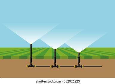 Automatic irrigation sprinklers. Vector illustration