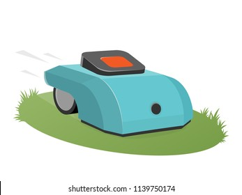 automatic lawnmower mowing the lawn