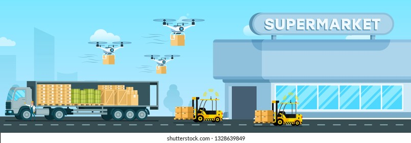 Automatic Loader, Flying Drone, Delivery Truck. Supermarket Distribution. Air Device, Forklift Car and Big Van Delivering Goods, Tank and Box to City Mall. Flat Cartoon Vector Illustration