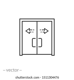 automatic opening door icon, modern entrance door, thin line web symbol on white background - editable stroke vector illustration eps10