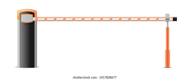 Automatic parking barrier to adjust cars movement, realistic object isolated on white background. Entrance to parking. Vector illustration