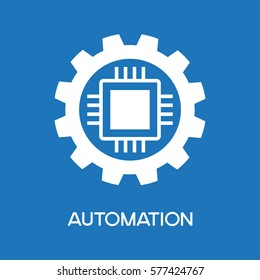 Automatic process icon. Gear with chip. Flat design style. White symbol on a blue background. The concept of automatic process. The file is saved  AI10 EPS.