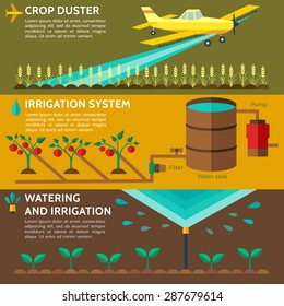 Automatic Sprinklers Watering. Agriculture, low flying yellow crop duster spraying agricultural chemicals pesticide a farm field.  Watering irrigation system. Vector Illustration.