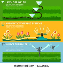 Automatic Sprinklers Watering. Vector Illustration.