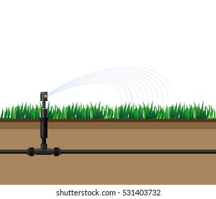 Automatic sprinklers watering. Vector illustration