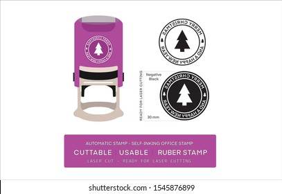 Automatic Stamp - Self-inking office Stamps. Rubber stamp with brush print cuttable, usable, rubber stamp (Ready for laser cutting) with merry christmas text