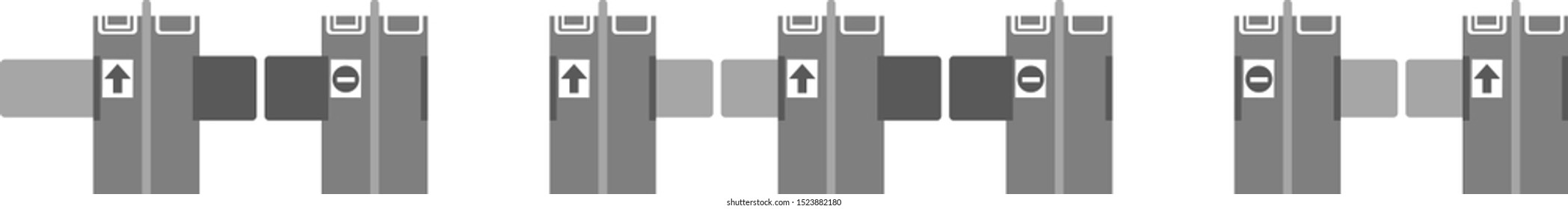 Automatic ticket gate at the station. Vector illustration icon.
