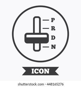 Automatic transmission sign icon. Auto car control symbol. Graphic design element. Flat symbol in circle button. Vector