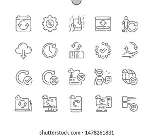 Automatic updates Well-crafted Pixel Perfect Vector Thin Line Icons 30 2x Grid for Web Graphics and Apps. Simple Minimal Pictogram