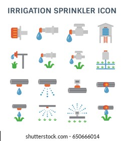 Automatic water sprinkler and irrigation system for garden and lawn.