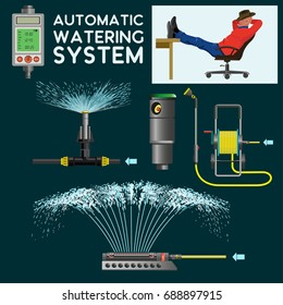Automatic watering system. Vector illustration on the dark background