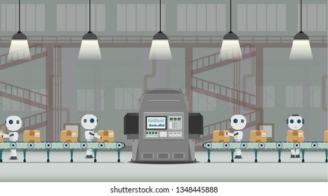 Automation factory concept with robot working flat design vector illustration