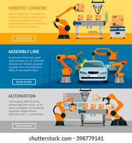 Automation horizontal banners set with assembly line and robotic loaders symbols flat isolated vector illustration