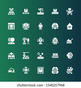 automation icon set. Collection of 25 filled automation icons included Robot, Intelligence, Production, Robot arm, Conveyor, Algorithm, Artificial intelligence, Smart home, Robotic arm