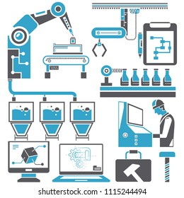 automation in production line and industrial engineering management icons set