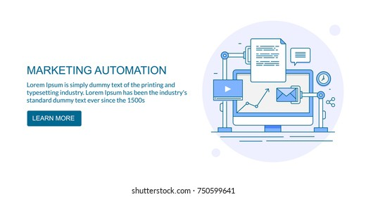Automation technology for digital marketing, SEO, Internet, Business vector banner with icons